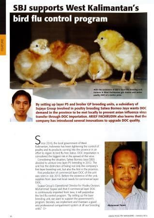SBJ supports West Kalimantan's bird flu control program